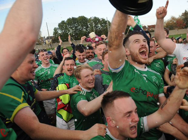 Ballyboughal captain Richie Downey and team celebrate winning the Dublin IFC title