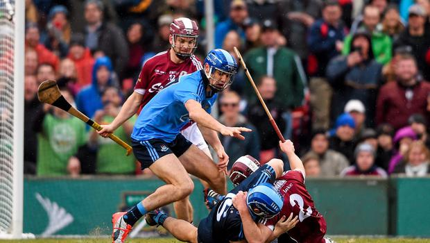Dublin goalkeeper Alan Nolan, now dropped from the county panel, tussles with Galway's Ronan Burke during the AIG Fenway Hurling Classic in Boston