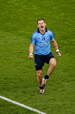 Kevin McManamon celebrates after scoring Dublin's third goal during the All-Ireland SFC semi-final replay against Mayo last September. Photo: Sportsfile