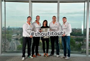 Dublin football star Michael Darragh MacAuley joined eircom's GAA ambassadors Tomás O'Sé, Ciaran Whelan, David Brady and Brendan Devenney in eircom's head office in Dublin today to launch their online platform for supporters of this summer's GAA Football All-Ireland Senior Championship. The GAA hub, www.eircom.ie/gaa, will see the introduction of a new feature where fans can record and share their views on players throughout the championship via a new audio social network BOAST and be in with a chance to win tickets to the All-Ireland Senior Football Final. #shoutitout.  Pictured at the launch are, from left, Brendan Devenney, David Brady, Lisa Comerford, Director of Brand and Communications, eircom, Ciaran Whelan and Tomás Ó Sé. eircom Head Office, HSQ,