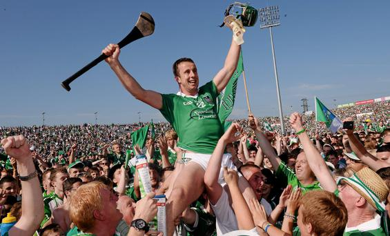 Limerick's Niall Moran celebrates with supporters after Munster Hurling final win over Cork. Picture: Ray McManus / SPORTSFILE