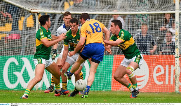Clare's Rory Donnelly attempts a shot. Picture: Ray McManus/SPORTSFILE