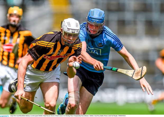 Dublin injury doubt Shane Barrett in action against Kilkenny's Liam Blanchfield. Picture credit: Pat Murphy / SPORTSFILE