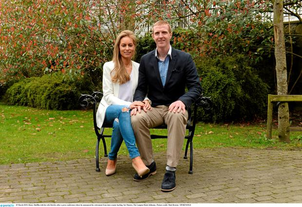 Henry Shefflin with his wife Deirdre after a press conference where he announced his retirement from inter-county hurling. Set Theatre, The Langton Hotel, Kilkenny.