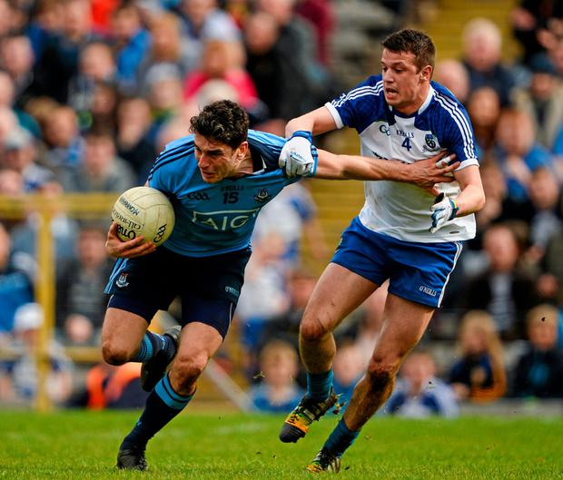 5 April 2015; Bernard Brogan, Dublin, in action against Ryan Wylie, Monaghan, Allianz Football League, Division 1, Round 7, Monaghan v Dublin. St Tiernach's Park, Clones