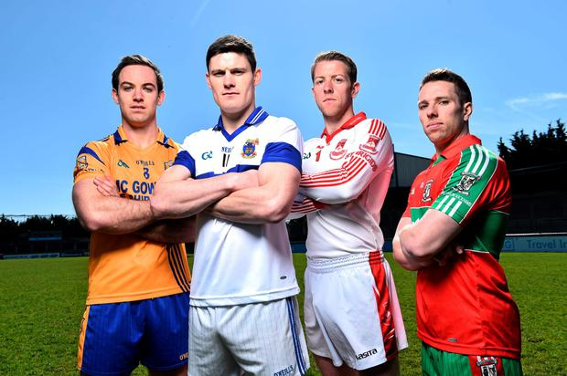 In attendance at yesterday's 2015 Dublin SFC launch at Parnell Park were (l-r) Na Fianna's Tomás Brady, St Vincent's Diarmuid Connolly, St Brigid's Shane Supple and Ballymun Kickhams' Alan Hubbard