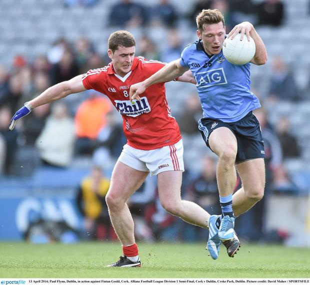 Dublin's Paul Flynn and Cork's Fintan Goold