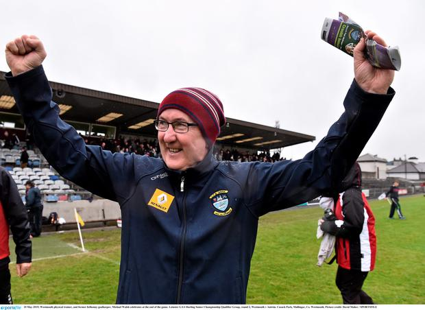 Westmeath physical trainer, and former Kilkenny goalkeeper, Michael Walsh celebrates at the end of the game