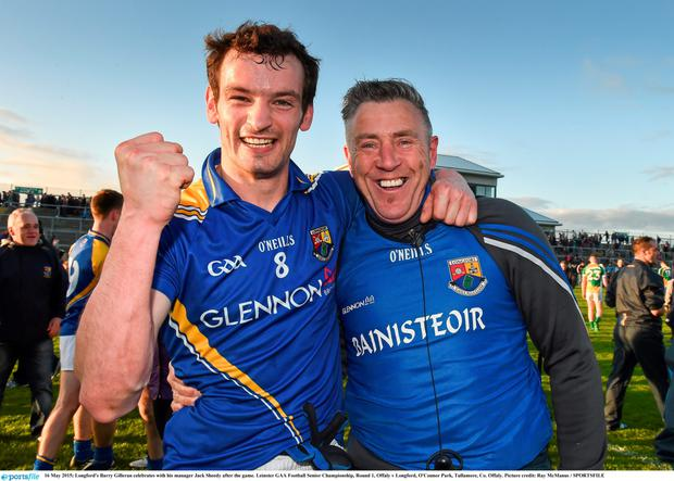 Longford's Barry Gilleran celebrates with his manager Jack Sheedy