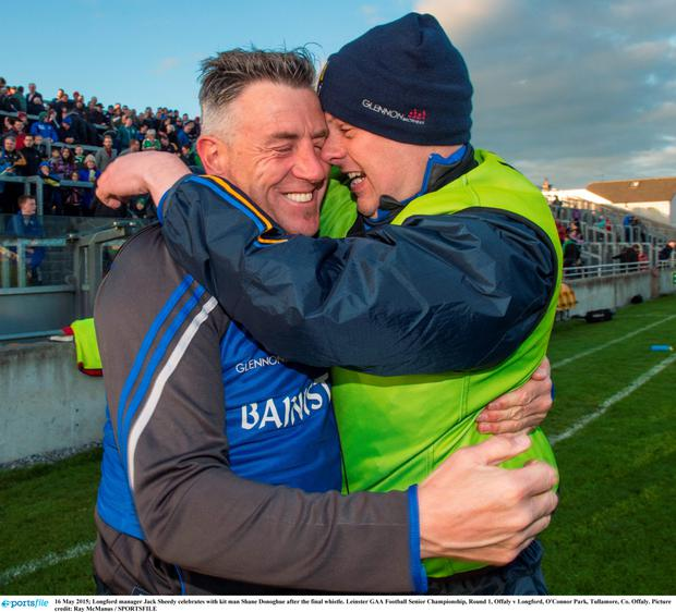 Longford manager Jack Sheedy celebrates with kit man Shane Donoghue after the final whistle. Leinster GAA Football Senior Championship, Round 1, Offaly v Longford, O'Connor Park, Tullamore