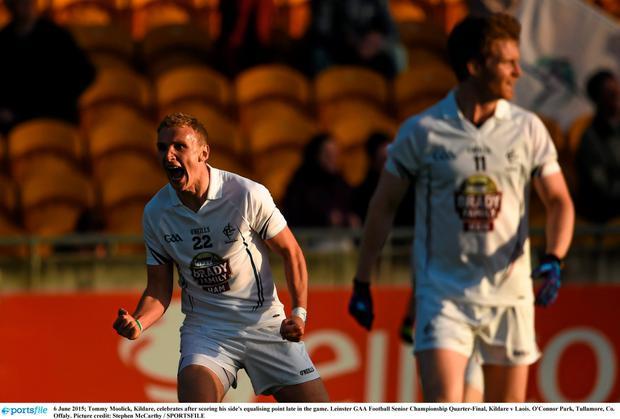 Tommy Moolick, Kildare, celebrates after scoring his side's equalising point late in the game. Leinster GAA Football Senior Championship Quarter-Final, Kildare v Laois. O'Connor Park, Tullamore,