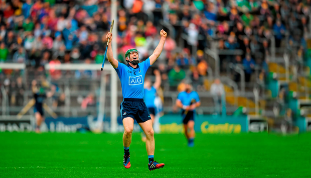Dublin's Johnny McCaffrey celebrates victory over Limerick in the All-Ireland SHC qualifier at Semple Stadium