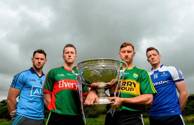 21 July 2015; In attendance at the GAA Football All-Ireland Senior Championship Series 2015 launch, from left, Philly McMahon, Dublin, Cillian O'Connor, Mayo, James O'Donoghue, Kerry, and Conor McManus, Monaghan, with the Sam Maguire Cup. Killarney Legion