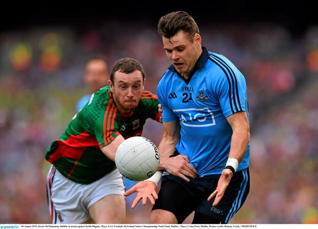 Kevin McManamon, Dublin, in action against Keith Higgins, Mayo.