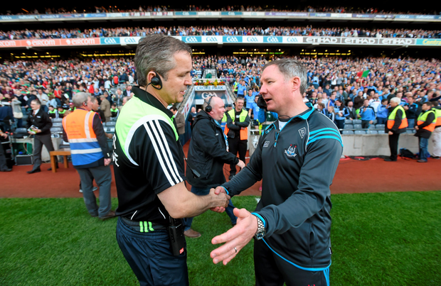 Mayo joint-manager Noel Connelly and Dublin manager Jim Gavin after Saturday's replay