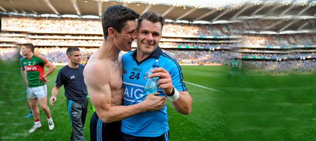 Diarmuid Connolly and Kevin McManamon, Dublin celebrate at the end of the game