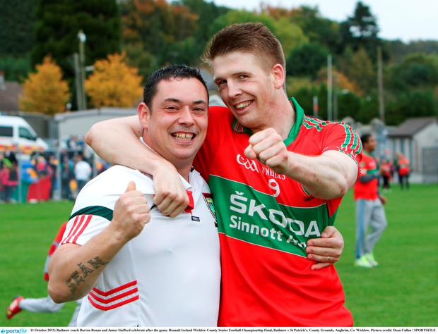 Rathnew coach Darren Ronan and James Stafford celebrate after the game. Renault Ireland Wicklow County Senior Football Championship Final, Rathnew v St Patrick's. County Grounds, Aughrim, Co. Wicklow
