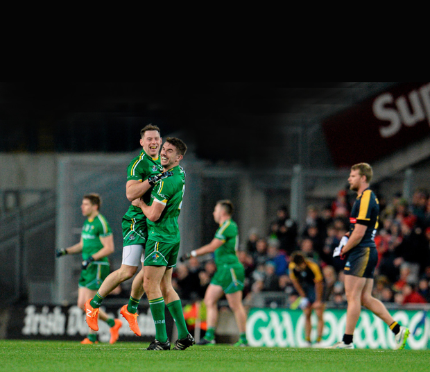 Philly McMahon (left) and Colm Begley of Ireland celebrate after winning the EirGrid International Rules Test against Australia at Croke Park