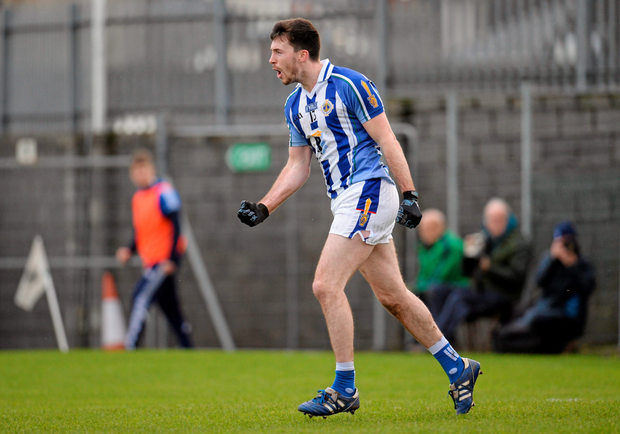 Sam Molony of Ballyboden St Enda's celebrates after scoring his side's first goal during the AIB Leinster Club SFC semi-final against St Loman's in Cusack Park
