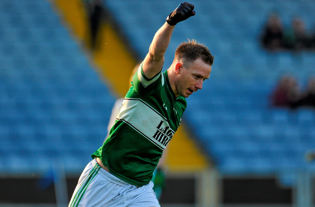 Portlaoise's Paul Cahillane celebrates scoring his side's third goal in their Leinster Club SFC semi-final victory over Longford's Emmet Óg Killoe