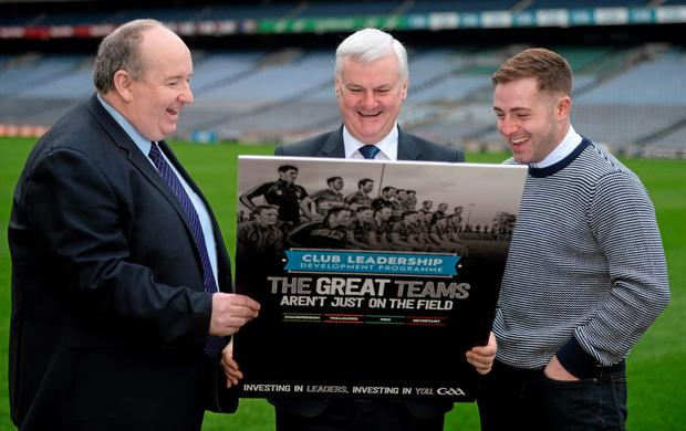 At the launch of the Club Leadership Development Programme were Paddy Flood, Chairman of the National Officer Development Programme, Uachtarán Chumann Lúthchleas Gael Aogán Ó Fearghail and Waterford hurler Noel Connors Photo: Piaras Ó Mídheach/Sportsfile