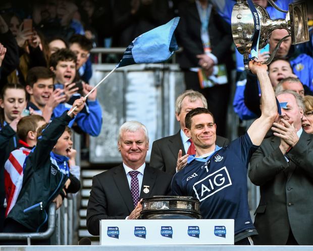 Dublin captain Stephen Cluxton lifts the cup following his side's victory over Cork in the Allianz Football League Division 1 final at Croke Park last April. Pic: Sportsfile