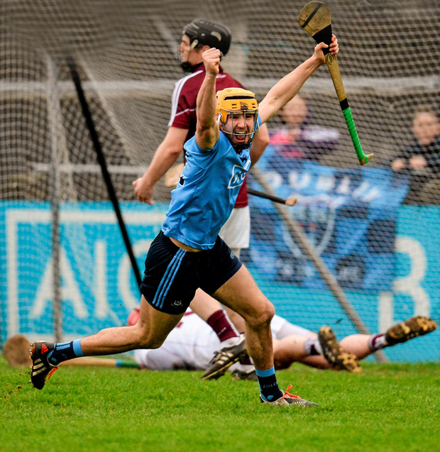 Dublin's Eamon Dillon celebrates after scoring his team's first goal against Galway in the Walsh Cup semi-final at Parnell Park Photo: Sportsfile
