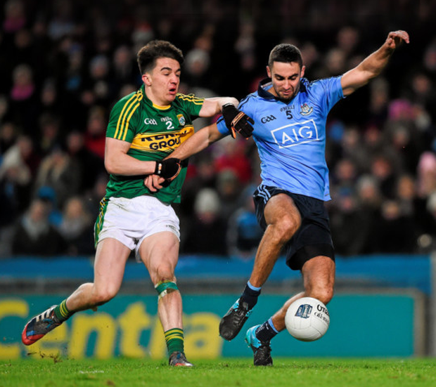 Dublin's James McCarthy is fouled by Kerry corner back Brian Ó Beaglaoich (and was awarded a penalty) during Saturday night's Allianz Football League, Division 1, Round 1 match at Croke Park Photo: Sportsfile