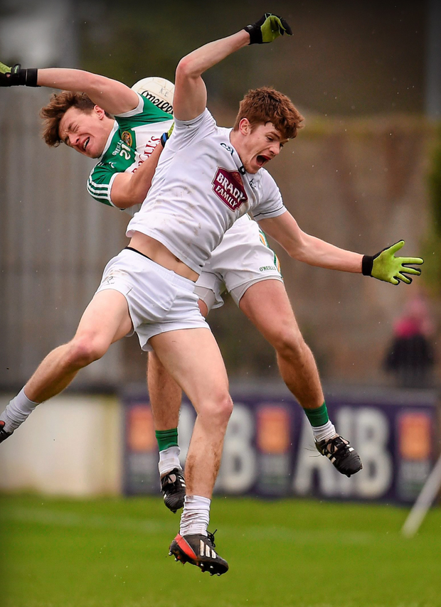 Kildare's Kevin Feely in action against Offaly's Michael Brazil during their Allianz Football League, Division 3, Round 2, match St Conleth's Park, Newbridge.