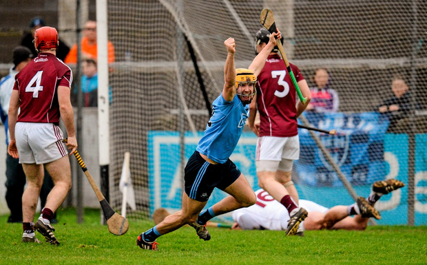 Dublin's Eamon Dillon celebrates after scoring his team's first goal against Galway during the Walsh Cup semi-final in Parnell Park last month Photo: Sportsfile