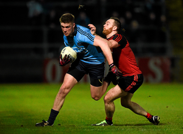 Dublin's Shane Carthy in action against Ryan Mallon of Down during the Allianz Football League match at Páirc Esler in Newry Photo: Sportsfile