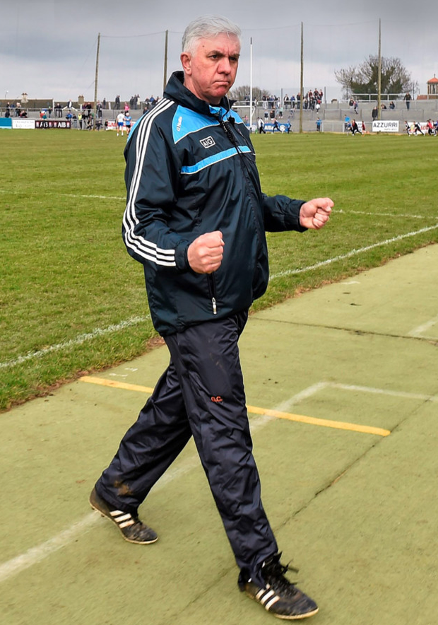 Dublin manager Ger Cunningham celebrates at the final whistle in Walsh Park yesterday. Photo: Sportsfile
