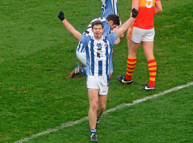 Ballyboden St Enda's captain, Darragh Nelson, celebrates just after the final whistle Photo: Sportsfile