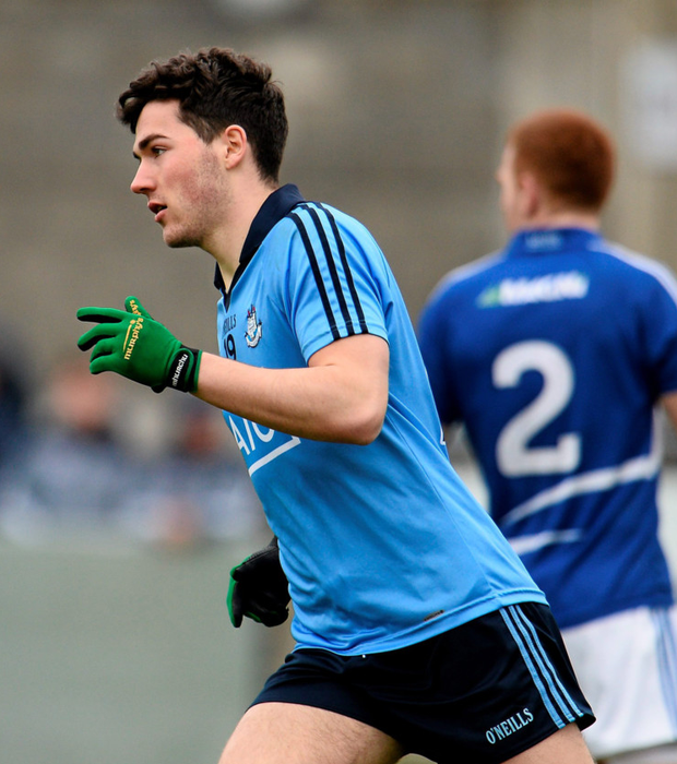 Dublin's Colm Basquel celebrates after scoring his side's second goal during the EirGrid Leinster Football U21 Championship semi-final against Laois at Parnell Park. Pics: Sportsfile