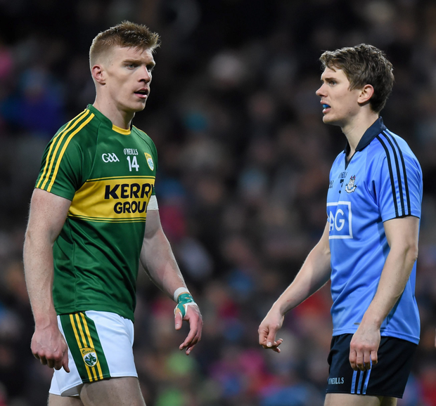 Kerry's Tommy Walsh and Dublin's Mick Fitzsimons during the opening round of this year's league. Photo: Sportsfile