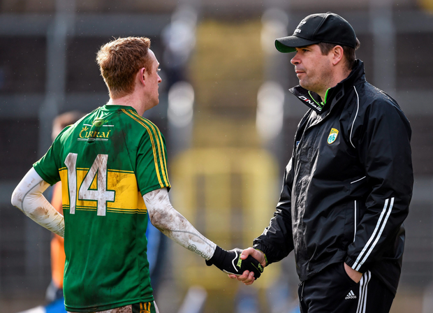 Kerry manager Eamonn Fitzmaurice with Colm Cooper. Photo: Stephen McCarthy/Sportsfile