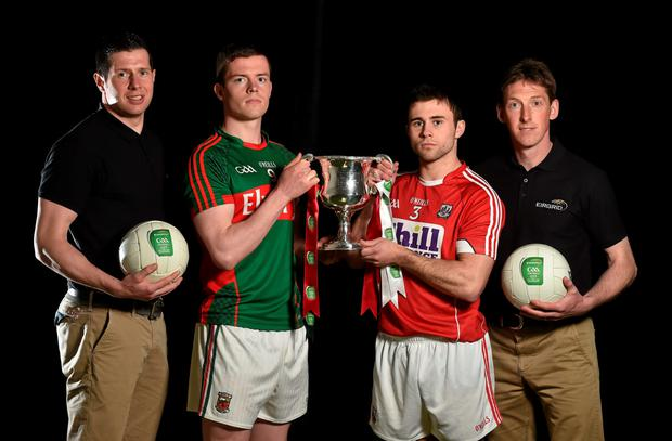 Mayo U21 football captain Stephen Coen with Cork captain Stephen Cronin and EirGrid ambassadors Sean Cavanagh (left) and Trevor Giles in Croke Park ahead of the EirGrid Football U21 All-Ireland Final in Ennis on Saturday Photo: Sportsfile