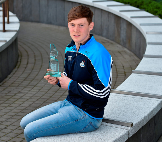 Dublin footballer Con O'Callaghan who received his EirGrid GAA U21 Footballer of the Month award for March, at the Herbert Park Hotel in Ballsbridge yesterday. Photo: Matt Browne/Sportsfile