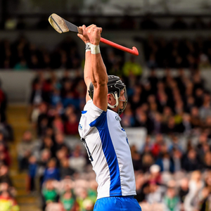 Waterford's Maurice Shanahan celebrates after scoring the equalising point against Clarev during the Allianz Hurling League Division 1 Final at Semple Stadium last Sunday. Pic: Sportsfile