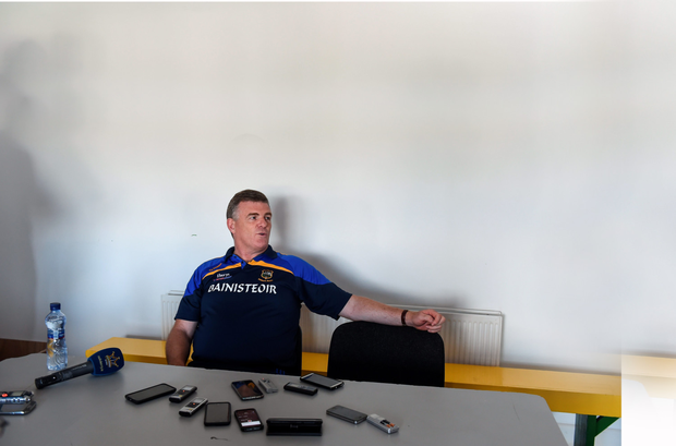 Tipperary manager Liam Kearns is interviewed by the media after the Munster SFC Final at Fitzgerald Stadium, Killarney. Picture Credit: Brendan Moran/Sportsfile