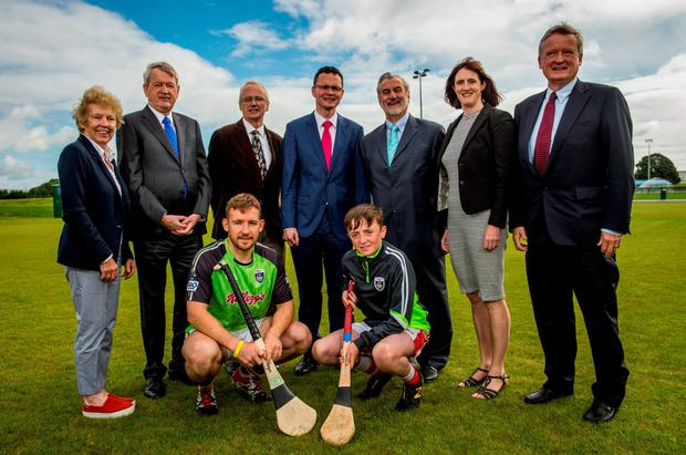 Pictured at the announcement of the Sport Ireland Field Sports Investment in Abbotstown were (l-r) Frances Kavanagh (Chair of Research Committee, Sport Ireland), GAA Ard Stiúrthoir Paraic Duffy, Kilkeny hurler Richie Hogan, Sport Ireland Chief Executive John Treacy, Minister of State for Tourism and Sport Patrick O'Donovan TD, Aogán Hourican, Kieran Mulvey (Chairman, Sport Ireland), Dr Úna May (Director of Participation and Ethics, Sport Ireland) and Patrick O'Connor (Board Member, Sport Ireland). Picture Credit: SPORTSFILE