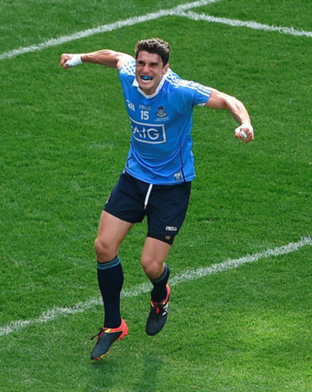 Dublin's Bernard Brogan celebrates after scoring his side's first goal during the Leinster SFC final at Croke Park yesterday. Pic: Sportsfile