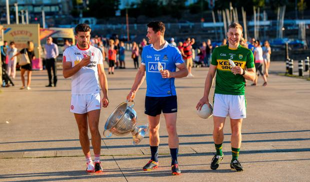 Tyrone's Tiernan McCann, Dublin's Diarmuid Connolly and Kerry's Peter Crowley at yesterday's All-Ireland SFC Series launch at East Pier, Dun Laoghaire. Picture Credit: Stephen McCarthy/Sportsfile