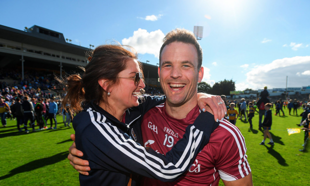Galway's David Collins is congratulated by his wife Sarah following yesterday's All-Ireland SHC quarter-final victory over Clare at Semple Stadium