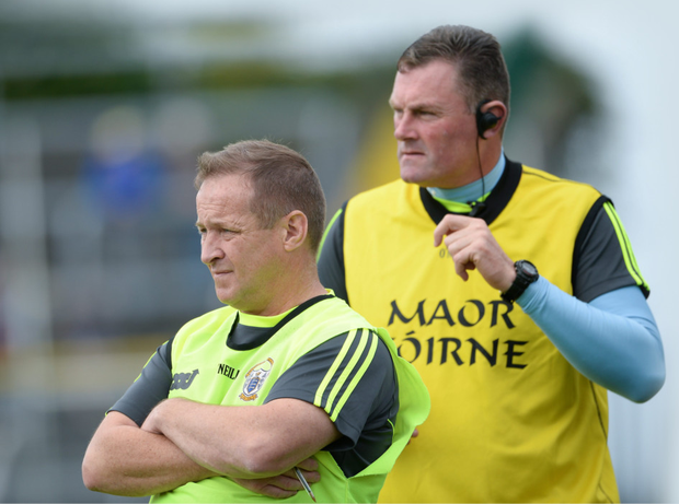 Clare manager Colm Collins (left) and selector Mick Bohan. Photo: Sportsfile