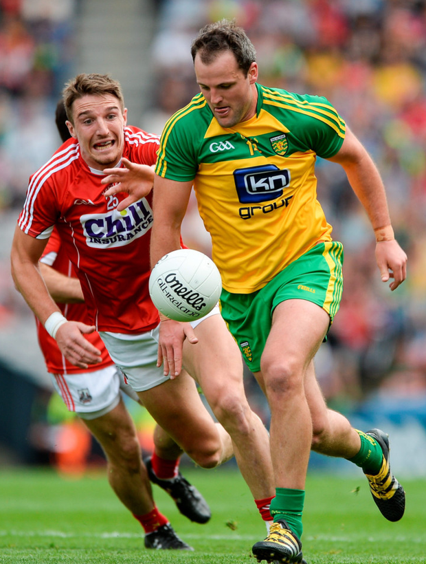 Donegal's Michael Murphy in action against Cork's Aidan Walsh in last Saturday's SFC qualifier. Photo: Sportsfile