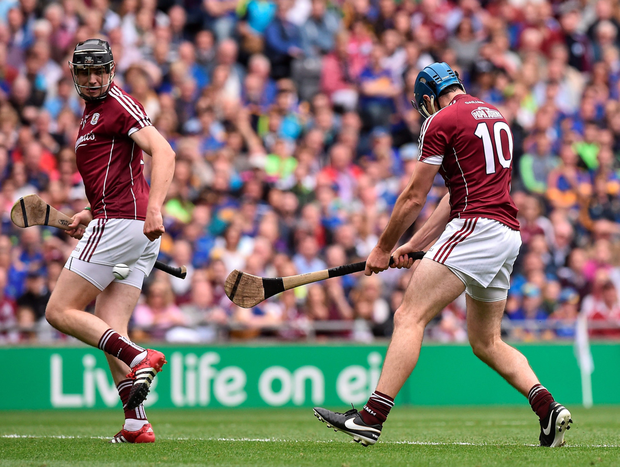 Galway's Conor Cooney blasts the sliotar to the net in yesterday's All-Ireland SHC semi-final at Croke Park. Photo: Sportsfile