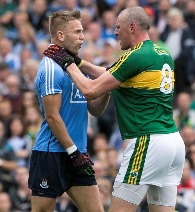 Dublins Johnny Cooper and Kerry's Kieran Donaghy clash during the All Ireland Semi Final in Croke Park. Photo: Kyran O'Brien