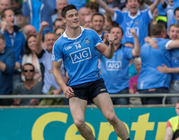 Dublins Diarmuid Connolly celebrates his winning point during the All Ireland Semi Final in Croke Park. Photo: Kyran O'Brien