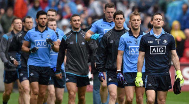 Dublin captain Stephen Cluxton, followed by Jonny Cooper, Rory O'Carroll and Philly McMahon, leads his team-mates during last September's All-Ireland SFC final pre-match parade. Pic: Ray McManus/Sportsfile